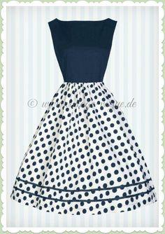Lindy Bop 50er Jahre Retro Petticoat Punkte Kleid - Audrey - Navy Blau Vintage Audrey Hepburn Kleid mit Polka Dots gepunktet in dunkelblau Aus weichem Baumwoll Jersey