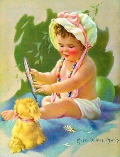 Reserved for Dianna Hello Baby Calendar Art by RedfordRetro Baby Calendar, Print Calendar, Vintage Pictures, Baby Pictures, Vintage Images, Little Doll, Little Girls, Baby Mabel, Jessie Willcox Smith