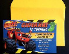 Blaze y el monstruo máquinas invitación Blaze y por GreetsyInvites