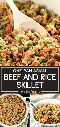 One-Pan Asian Beef & Rice Skillet can be ready in under 30 minutes! This quick and easy recipe comes together in just one pan, requiring a simple list of fresh, all-natural ingredients. Wholesome goodness all in one great meal! Serve with a side salad for dinner!