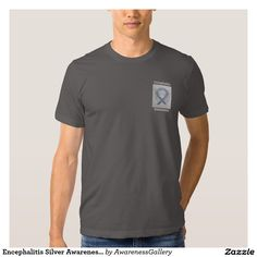 Encephalitis Silver Awareness Ribbon Angel Tee Shirt