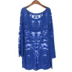 Jastie Commemorative Bell Sleeve Dress Casual femininos Crochet Floral Lace embroidery dresses Sheer Boho People Women Magenta