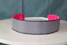 No Slip Black and White Striped Wide Headband on Sweet Monkey Princess via Etsy