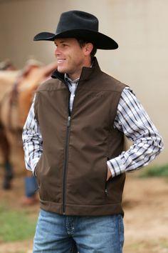 Cinch Men s Bonded Conceal Carry Zip Up Pocket Brown Western Vest  MWV1058001 MWV105801X Men s Cowboy Fashion a612f1442ccb