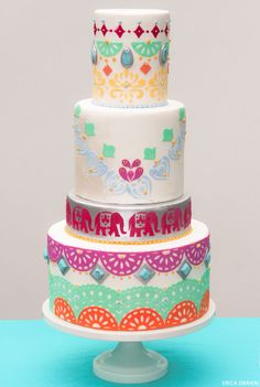 Boho Chic Cake  |  translating trends into cake designs | by Erica OBrien for TheCakeBlog.com