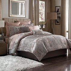 Master Bedroom: Create a dreamy, feminine ambience in your bedroom with the Manor Hill Muse comforter set. The all-over jacquard comforter features a modern, abstract ikat floral and soft rows of self-pleating all in soothing shades of blush, cream, and taupe.