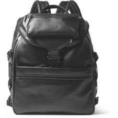 Alexander McQueen Leather Backpack ($2,195) ❤ liked on Polyvore featuring men's fashion, men's bags, men's backpacks, black and mens leather backpack