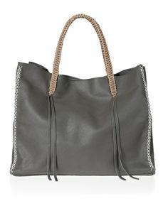 Dark Grey Lattice Tote Bag by Callista Crafts | aesthet.com | Eclectic Luxury…