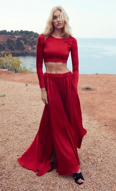 Madison Silk Satin Top with Eden Silk Satin Maxi Skirt by Adriana Iglesias Fall Winter 2018