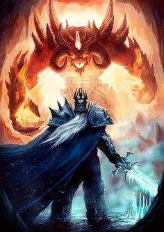 The Lich King versus Diablo. Diablo has no chance. Fantasy Rpg, Fantasy Artwork, Fantasy World, Dark Fantasy, World Of Warcraft, Warcraft Art, Heroes Of The Storm, Death Knight, Undead Knight