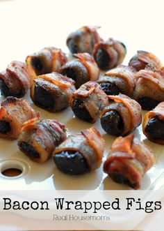 Bacon Wrapped Figs Real Housemoms This was the perfect appetizer for brunch! Fig Appetizer, Appetizers For Party, Appetizer Recipes, Recipes Dinner, Fig Recipes, Bacon Recipes, Cooking Recipes, Paleo Bacon, Bbq Bacon