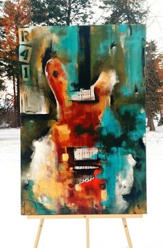 Guitar painting, original abstract painting on canvas by Heather Day Paintings on Etsy ://www.etsy.com/listing/262229942/guitar-painting-original-abstract