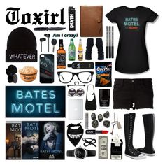 """""""Marathon tonight of Bates Motel!"""" by toxirl ❤ liked on Polyvore featuring Wildfox, Converse, Coach, Wet Seal, Merkury Innovations, Jack Black, Muse, Areaware, Emporio Armani and NYX"""