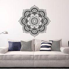 Wall Decal Mandala Sticker Yoga Lotus Flower Decals Indian Decor Wall Art Bedroom Dorm Yoga Studio Bohemian Home Decor Interior Design  Approximate