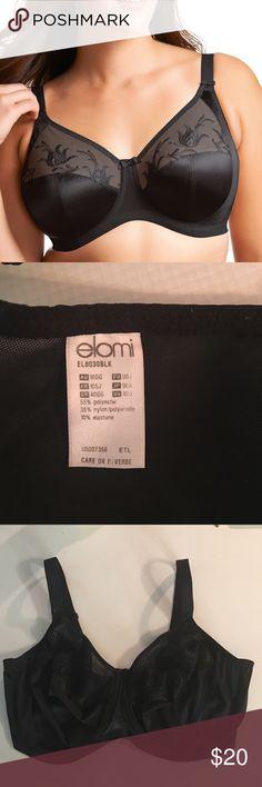 ELOMI 40J Black Embroidered Caitlyn satin bra Elomi Style 8030 Full figure underwire black bra embroidered 40 J Elomi Intimates & Sleepwear Bras