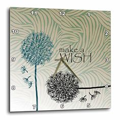 3dRose dpp_63555_1 inspired Teal Make a Wish Dandelion Flowers Wall Clock, 10 by 10-Inch, http://www.amazon.com/dp/B009PCY25I/ref=cm_sw_r_pi_awdm_vlY0wb04435XP