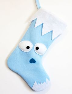 Yeti / Abominable Snowman Stocking by MissMosh Snow Monster, Felt Monster, Monster Dolls, Holiday Crafts, Christmas Crafts, Xmas, Holiday Decorations, Bumble Rudolph, Ceramic Monsters