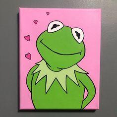 Kermit der Frosch Acryl Leinwand Malerei - Kermit Malerei Kermit the Frog Acrylic Canvas Painting - Small Canvas Paintings, Small Canvas Art, Mini Canvas Art, Acrylic Painting Canvas, Painting Art, Acrylic Art, Painting Flowers, Painting Tools, Toile Disney