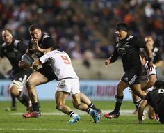 Ben May of the Maori All Blacks fends off a tackle from a US Eagles player at Toyota Park in. Maori All Blacks, Win Tickets, Eagles, Rugby, November 12th, Running, Toyota, Sports, Park