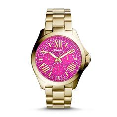 #Fossil Cecile Multifunction Stainless Steel Watch in Gold Tone with Pink