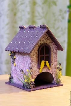 Купить Чайный домик с птичками - сиреневый, сливовый, желтый, чайный домик, чайный домик купить Bird Houses Painted, Bird Houses Diy, Fairy Houses, Cd Crafts, Cardboard Crafts, Mirrored Picture Frames, Shabby Chic Fabric, Paper Houses, Diy Dollhouse