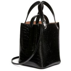 Alaïa Croc embossed mini leather bucket tote (62.200 RUB) ❤ liked on Polyvore featuring bags, handbags, tote bags, handbags totes, leather purses, mini tote bags, leather totes and mini tote