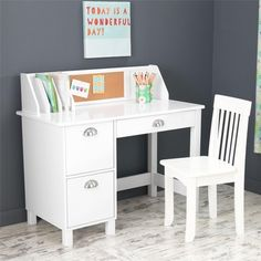 KidKraft 26704 Study Desk with Drawers - White