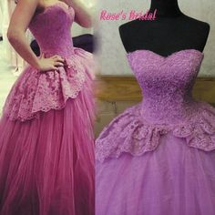 Purple Wedding Dress, Wedding Ball Gown, Lace Wedding