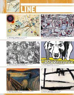 Resource: LINE (Element Binder Notes) great resource Elements Of Art Line, Elements And Principles, Art Doodle, Classe D'art, Art Handouts, Art Basics, Inspiration Art, Art Worksheets, Art Curriculum