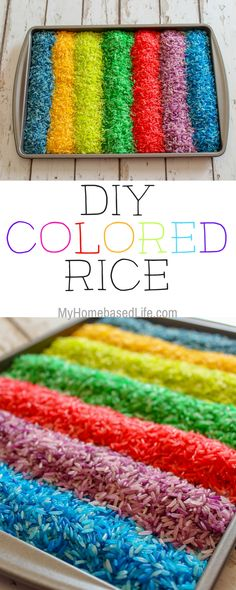We decided to get crazy around here and it was so much fun I& going to show you How to make Colored Rice. It& so simple and takes mere minutes. Sensory Tools, Sensory Bins, Sensory Activities, Sensory Play, Learning Activities, Preschool Activities, Kids Learning, Colour Activities, Indoor Activities