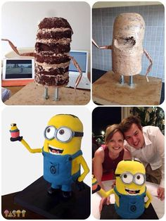 Standing Minion cake process