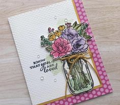 Jar of Flowers stamp set - Jana Miner Cricut Cards, Stampin Up Cards, Handmade Birthday Cards, Greeting Cards Handmade, Mason Jar Cards, Stampin Up Catalog, Beautiful Handmade Cards, Pretty Cards, Card Sketches