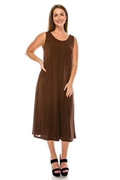 Jostar Stretchy Long Tank Dress in Brown Color in XLarge Size * More info could be found at the image url. (This is an affiliate link) Women's Casual, Tank Dress, Casual Dresses For Women, Cold Shoulder Dress, Batman, Chic, Store, Brown, Link