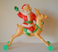 Vintage Rosbro Plastic Santa on Reindeer Candy Container Christmas Toy on Wheels Z