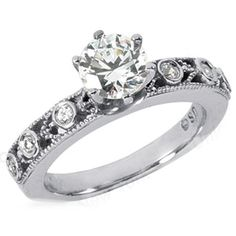 Round Diamond Engagement Ring with Sidestones in 14K White Gold 0.15 tcw.