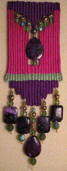 """Fuchsia"" by Bonnie Clark (Sapphire Dakini) of Santa Fe, New Mexico - Situsku Pin Weaving, Navajo Weaving, Weaving Art, Tapestry Weaving, Loom Weaving, Fabric Beads, Fabric Jewelry, Bead Crafts, Jewelry Crafts"
