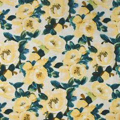 S3621 Lemon Yellow Fabric, Floral Fabric, Yellow Aesthetic Pastel, Greenhouse Fabrics, Floral Pillows, Natural World, Surface Design, How To Look Pretty, Vibrant Colors