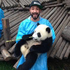 @AJ McLean and a baby #panda - #bsb #skulleroz