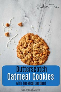 These Toasted Coconut Butterscotch Oatmeal Cookies are sweet and chewy with a hint of coconut. This gluten free recipe is a new twist on an old classic. Best Gluten Free Cookies, Gluten Free Cookie Recipes, Gluten Free Treats, Gluten Free Baking, Gluten Free Desserts, Brownie Recipes, Baking Recipes, Dog Food Recipes, Oatmeal Butterscotch Cookies