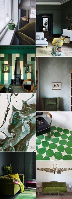 color palette: deep greens.