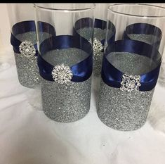 Wedding centerpiece 1 silver glitter vase navy blue silverglitter anklet ankle bracelet midnight blue pearl by abeadapartjewelry Silver Wedding Decorations, Blue Wedding Centerpieces, Silver Centerpiece, Bridal Shower Centerpieces, Wedding Themes, Centerpiece Ideas, Glitter Centerpieces, Simple Centerpieces, Centerpiece Flowers