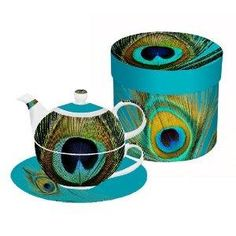 Tea For One Set peacock feather