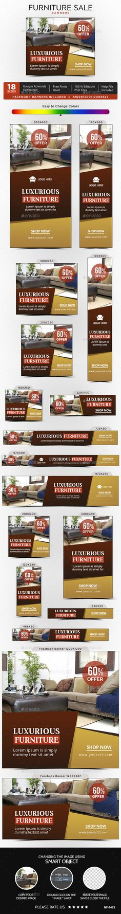 Furniture Sale Banners Template PSD. Download here: https://graphicriver.net/item/furniture-sale-banners/17359616?ref=ksioks