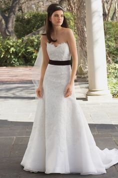 Lace over silk organza strapless wedding dress