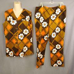 2288376d8b Pua Lani 2 Pc Orange Brown Hippy Flower Power Vtg 60s Clam Digger Resort  Wear