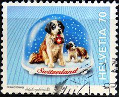 Switzerland.  SWISS SOUVENIRS.  ST. BERNARD DOG.  Scott 1072 A489, Issued 2000 Mar 7, Litho., Perf. 13 x 13 1/4, 70. /ldb.