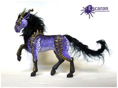 This is the first payment of a RESERVED Dragon-Horse Custom Order for Jane C.S. Only buy if you are her.    Name: Cobalt  Traits: Same pose and details as Dakarai (the purple Dragon-Horse in pic)  Color: Cobalt blue    Thank you so much Jane for ordering him! -----    - This listing is for a beautiful, original, CUSTOM MADE Dragon-Horse (Skuggdrakhe) sculpture - The head and legs are casted from my original sculpted parts and are then attached to a body that I make out of super sculpey…