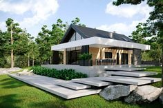 Discover recipes, home ideas, style inspiration and other ideas to try. Modern Bungalow Exterior, Modern Bungalow House, Modern Farmhouse Exterior, Modern Barn House, Modern House Plans, Modern House Design, Style At Home, Pyramid House, Design Living Room