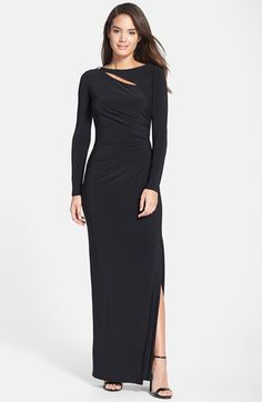 Lauren Ralph Lauren Gray Asymmetrical Cutout Jersey Column Gown. Taille 38 - 44. REF 2141/38. REF 2151/44.