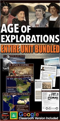 Age of Exploration Complete Unit Bundled (New Product) includes Age of Exploration PowerPoints with video and presenter notes. Unit also includes, warm up PowerPoints, informational text documents with questions, primary source lessons, map, exit tickets, Explorer Scrapbook Project, crossword review, Kahoot! review game, video/video guide, and assessment/test. Everything is put together with detailed daily lesson plans.                  #HistoryLessonPlans #Socialstudies #WorldHistoryLessonPlans History Lesson Plans, World History Lessons, Teaching Social Studies, Teaching History, Daily Lesson Plan, Exploration, Review Games, Questions, Album